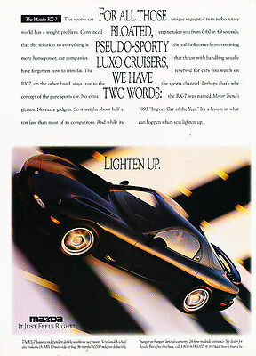 1994 Mazda Rx7 Rx-7 - lighten up - Vintage Advertisement Ad A27-B