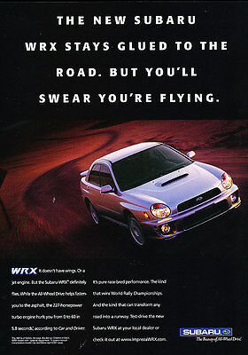 2002 Subaru Impreza WRX - glued to road -  Classic Advertisement Ad A38-B
