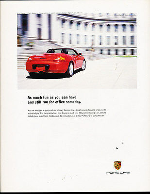 2001 Porsche Boxster - run for office someday -  Classic Advertisement Ad A42-B