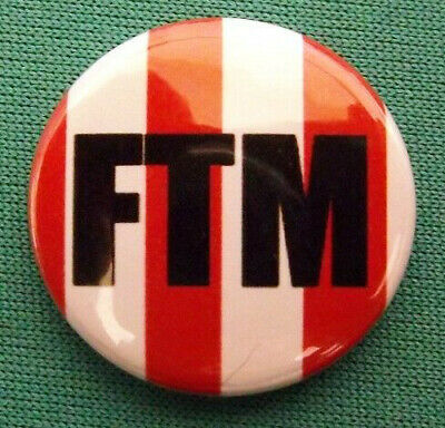 FTM Sunderland Newcastle 25mm Pin Button Badge.SAFC NUFC Football Red & White