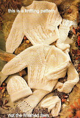 "Baby Children Aran Round/V Neck Sweater Scarf Hat and Mitts 16"" - 30"" To Knit"