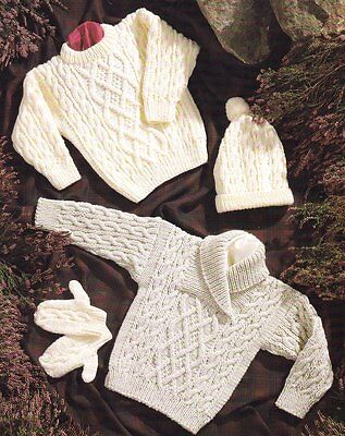 "Baby Children Aran Shawl/Round Neck Sweater Hat Mitts 16""- 30"" Knitting Pattern"