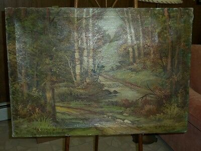 Painting On Canvas - Forest Trees - D or O. Arnold