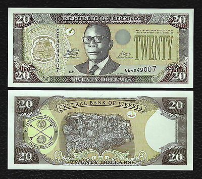Liberia P-28e 2009 20 Dollars-Crisp Uncirculated