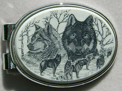 Money Clip Oval Barlow Scrimshaw Carved Painted Art Wolf Wolves Portrait 539686