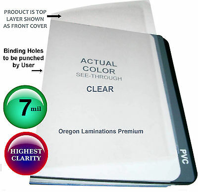 500 Clear 7 Mil  Report Covers 8-1/2 x 11 Plastic Binding Sheets unpunched