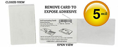 Cold Self Stick Credit Card size Laminating Pouches 2-1/8 x 3-5/8 (100) 5 Mil