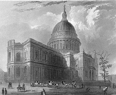 London, SAINT PAUL'S CATHEDRAL CHURCH ~ 1838 Art Print
