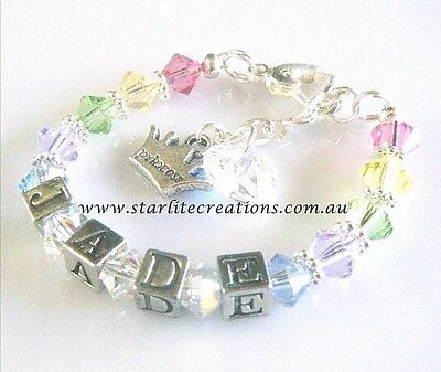 "Child's Christening Personalised Name Bracelet with ""RAINBOW"" Swarovski Crystals"