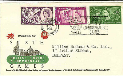 Gb Fdc 1958 Commonwealth Games. Various Covers