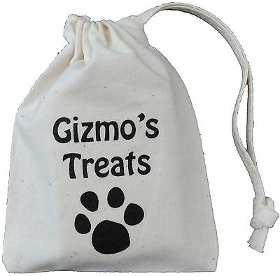 PERSONALISED - CAT TREAT BAG - TINY COTTON DRAWSTRING BAG - (Supplied empty)