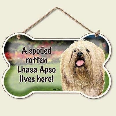 LHASA APSO Spoiled Rotten SIGN/PLAQUE-5 3/4 X 9.5 WOOD