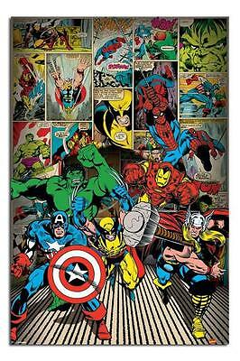 Marvel Comics Here Come The Heroes Large Wall Poster New Free UK P&P