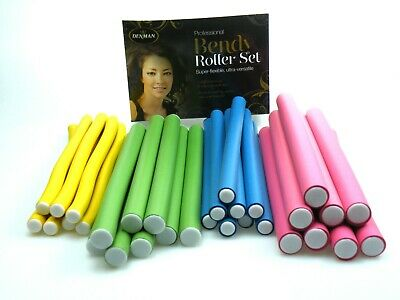 32 Denman Bendy Curlers Hair Rollers Set Foam Hairdressing Benders