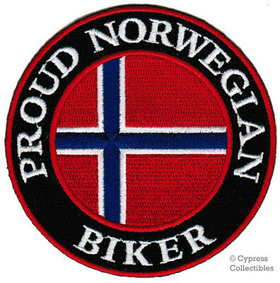 PROUD NORWEGIAN BIKER embroidered PATCH NORWAY FLAG IRON-ON MOTORCYCLE EMBLEM