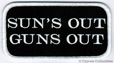 SUNS OUT GUNS OUT - IRON-ON PATCH NEW embroidered MUSCLE NAME TAG NOVELTY SAYING