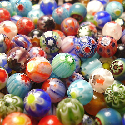 60 8mm Assorted Mixed Round Millefiori Flower Glass Beads