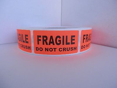 FRAGILE DO NOT CRUSH 1x2 red fluorescent Warning Stickers Labels 250/rl