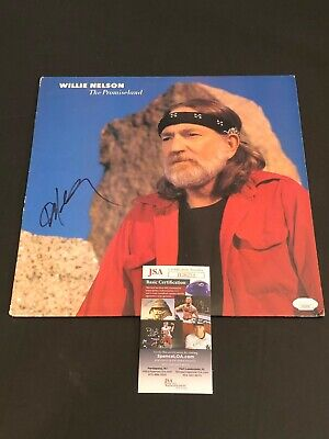 Willie Nelson The Promiseland Country Singed Autograph Photo Record Album LP COA