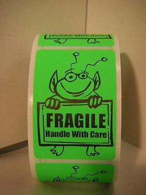 FRAGILE HANDLE WITH CARE Cute Green Alien Holding Sign 2x3 Sticker Label 250rl