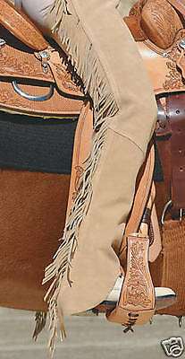 New Tan / Sand Western Horse Suede Leather Horse Show Saddle Chaps - 6 Sizes
