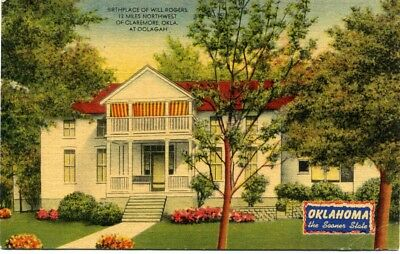 Vintage Linen Postcard Birthplace Of Will Rogers Oolagah, Oklahoma Sooner State