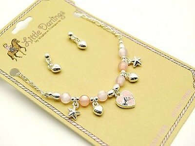 Western Kid Child Horse Star Hearts Pearl Necklace Set