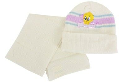 Tweety Bird Infant Girl's White Sweet Tweety Winter Hat & Scarf Set