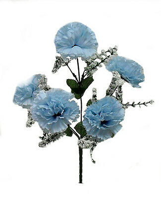 60 CARNATIONS ~ LIGHT BLUE ~ Silk Wedding Flowers Bridal Bouquets Centerpieces