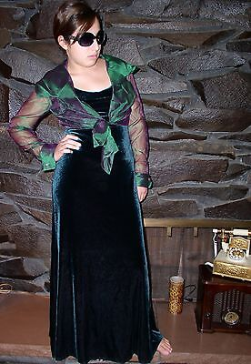 Vintage Green Purple Velvet  Gown  And Jacket Ashlee  Size 8 New