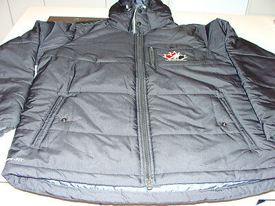 2012 Team Canada IIHF Division Baffle Storm Fit Jacket Black Bomber L Hooded