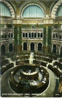Vintage Postcard Congressional Library Reading Room Washington D.c.