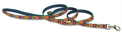 """Lupine Dog Leash Lead 1/2"""" MINI CRITTERS 4 FT Retired Pattern Dogs Puppies Blue"""