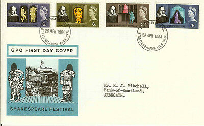 Gb Fdc 1964 Shakespeare. Various Covers.