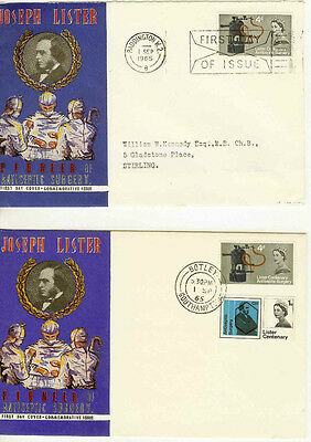 Gb Fdc 1965 Joseph Lister. Various Covers