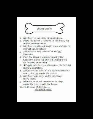 "Boxer ""Rules"" Dog Art Print - Matted"