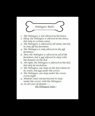 "Pekingese ""Rules"" Dog Art Print - Matted"