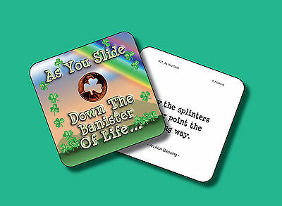 """""""As You Slide Down The Banister"""" Poem / 1 Shamrock Coin / Carded Penny - sku 531"""