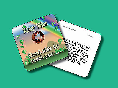 """May Road Rise"" Poem - 1 Shamrock Coin - Carded Genuine US Penny - sku 880"