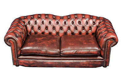 English Braunton Style Red Leather Chesterfield Sofa Tufted Shaped Back FS