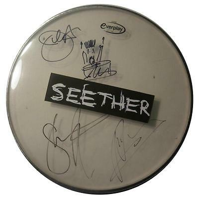 Signed Seether Autographed Drumhead W/pics