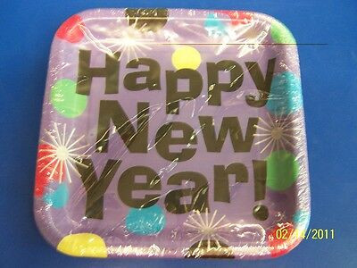 "Happy New Year Cocktail New Year's Eve Party 7"" Square Paper Dessert Plates"