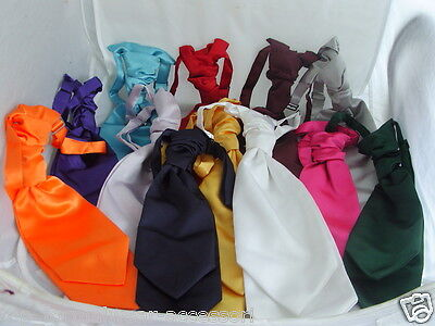 Any WEDDING-Double Drop (2 Blades) Polyester MENS-BOYS Scrunchy Ruche Tie Cravat