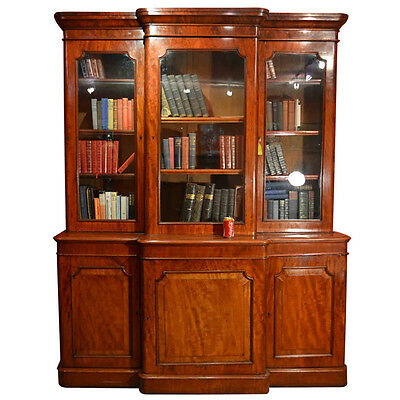 Antique Victorian Mahogany Breakfront Bookcase c.1870