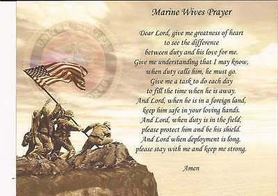 Personalized Marine Wives Prayer   Add Name and Custom Text
