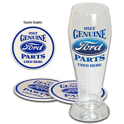 Ford Genuine Parts Pilsner Gift Set One Glass Two Tin Coasters Nice Gift Box