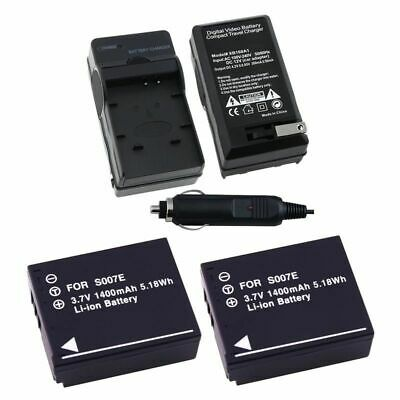 TWO BATTERY+CHARGER For PANASONIC LUMIX DMC-TZ3 DMC-TZ4 DMC-TZ5 Camera CGA-S007