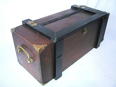 Antique Art Craft Wood Brass Rose Nails Document Strong Tool Sewing Jewelry Box