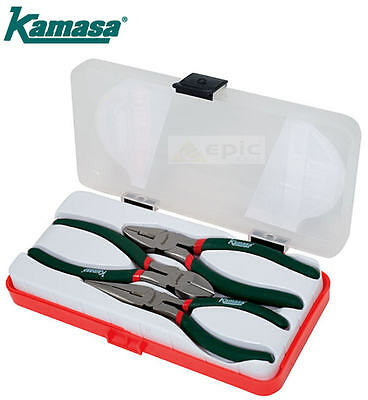 Kamasa 3 Pce Plier Set Cable/Wire Side Cutter/Combination & Long Nose+Case 55748
