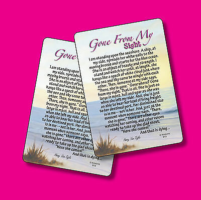 """Gone From My Sight"" Memorial Poem - 2 Verse Cards - SKU# 813"